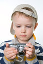 Little boy with the digital photo camera closeup learning Royalty Free Stock Photo