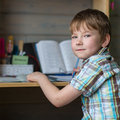 Little boy doing homework. Education. Royalty Free Stock Photo