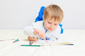 Little boy drawing Royalty Free Stock Photo