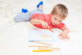 Little boy drawing education and daycare concepts Royalty Free Stock Photo