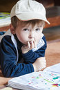 Little boy draws Stock Image