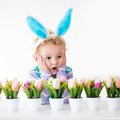 Little boy with easter bunny ears happy children celebrate at home funny wearing enjoying egg hunt kids playing color eggs and Royalty Free Stock Image