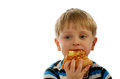Little boy eating pizza cheese closeup on white background Stock Images
