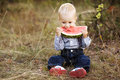Little boy eats watermelon cute Royalty Free Stock Photography