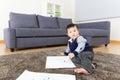 Little boy enjoy drawing asia Stock Photo