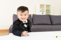 Little boy enjoy drawing at home Royalty Free Stock Photography