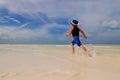 Little boy enjoy running on summer beach tropical Stock Photo