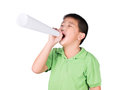 Little boy with a fake megaphone made with white paper isolated on the white background, rights of a child Royalty Free Stock Photo