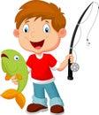 Little boy fishing Royalty Free Stock Photo