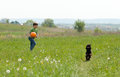 Little boy with football and his dog outdoors playing in the meadow Royalty Free Stock Photo