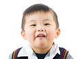 Little boy with funny face isolated on white Stock Photography