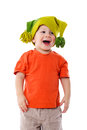 Little boy in funny hat smiling isolated on white Stock Images