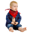 Little boy in gangster kerchief around his neck on a white background Stock Photography