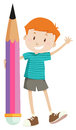 Little boy and giant pencil Royalty Free Stock Photo