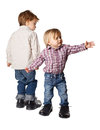 Little boy and girl in big shoes Royalty Free Stock Photo