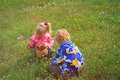 Little boy and girl collecting flowers in green nature Royalty Free Stock Photo