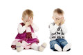 Little boy and girl covers his face Royalty Free Stock Image