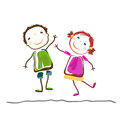 Little boy and girl happy kids Stock Images