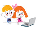 Little boy and girl with laptop computer Royalty Free Stock Photo