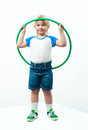 Little boy green sports hoop Royalty Free Stock Image