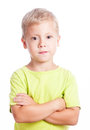 Little boy with hands folded isolated on white background Royalty Free Stock Images