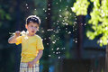 Little boy having fun with dandelion seeds Stock Photo