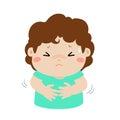 Little boy having stomach ache cartoon .