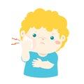 Little boy having toothache cartoon .