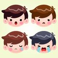 Little Boy Head Avatar Face Negative Emotions Set Stock Vector Cartoon Cute