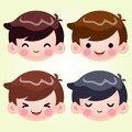 Little Boy Head Avatar Face Positive Emotions Set Stock Vector Illustration Cute Cartoon