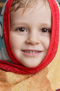 Little boy head of in red yellow towel Royalty Free Stock Image