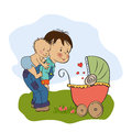 Little boy and his baby brother illustration in format Stock Photo