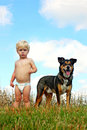 Little boy and his dog a cute blonde baby is standing outside on a beautiful summer day with pet german shepherd with the blue sky Royalty Free Stock Images