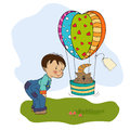 Little boy and his flying cat illustration in format Royalty Free Stock Photos
