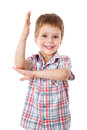 Little boy with his hand raised up Royalty Free Stock Photo
