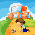 A little boy and his pet near the school illustration of Royalty Free Stock Photography