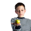 Little boy holding and apple Stock Photography