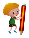 Little boy holding giant pencil Royalty Free Stock Photo