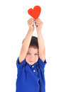Little Boy Holding Love Heart Royalty Free Stock Photo