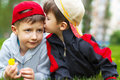 Little boy hug brother cute at outdoor Stock Images