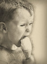 Little boy with ice cream, pencil drawing Royalty Free Stock Photo
