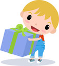 Little boy illustration of a cute with gift box Stock Image