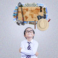 Little boy imagine famous vacation place Royalty Free Stock Photo