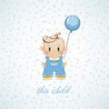 Little boy with inflatable balls and stars. The birthday child Royalty Free Stock Photo