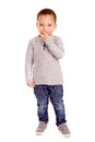 Little boy isolated in white Royalty Free Stock Photography