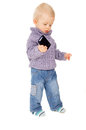 A little boy keep a mobile phone Royalty Free Stock Photo