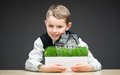 Little boy keeping house model portrait of on grey background concept of real estate and deal Stock Photography