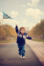 Little boy with kite in a the park Royalty Free Stock Photo