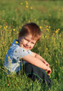 Little boy laughing sitting in the grass Stock Photography
