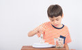 Little boy leaning weight scale mathmatic education in class Royalty Free Stock Photo